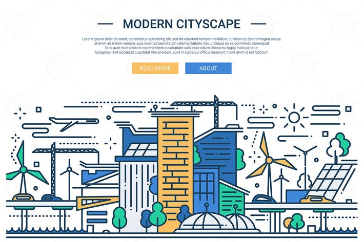 Cover Image For Modern Cityscape - line design style illustration