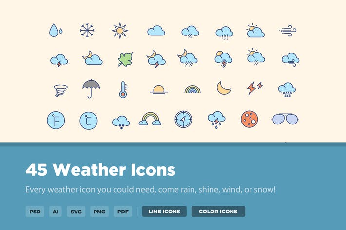 Thumbnail for 45 Season and Weather Icons