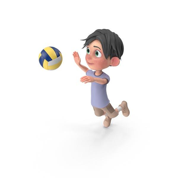 Cartoon Boy Jack Playing Volleyball