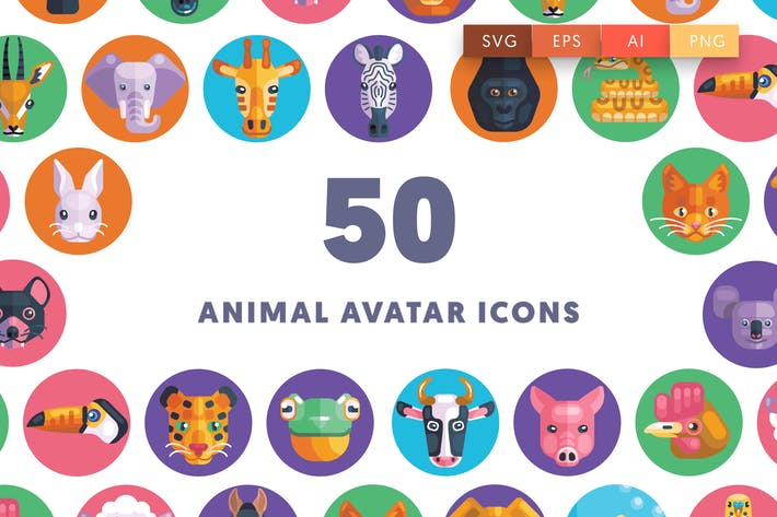 Thumbnail for 50 Animal Avatar Icons
