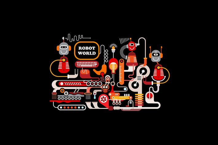Thumbnail for Robotic Manufacturing Vector Illustration
