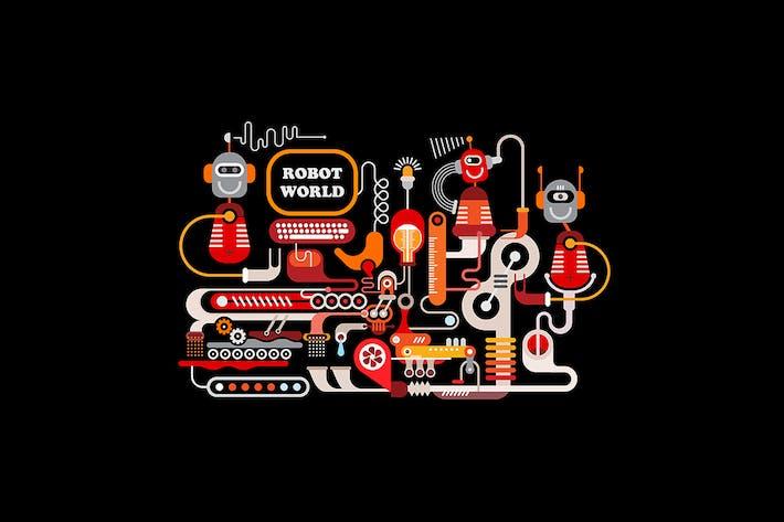 Thumbnail for Ilustración Vector de fabricación Robótica