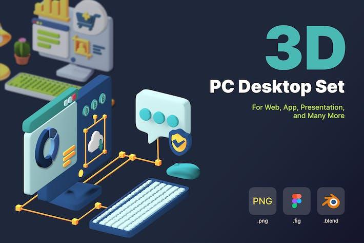 Desktop-Set für isometrische 3D-PCs