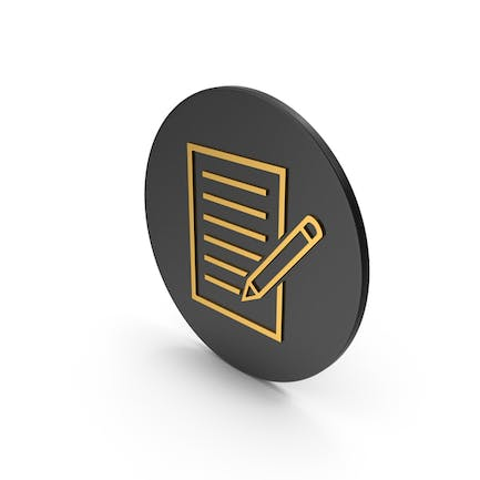 Document With Pen Gold Icon