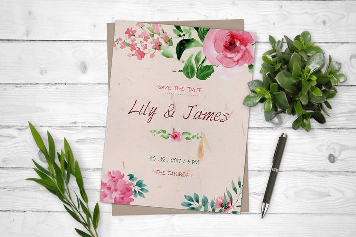 Thumbnail for Watercolor Floral Save The Date Wedding Flyer