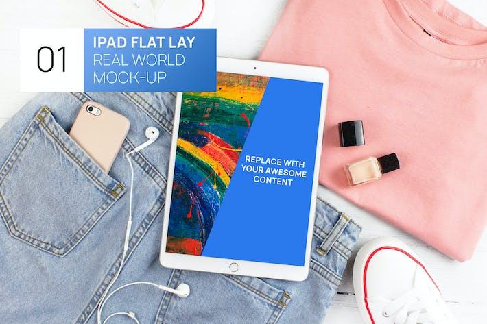 Thumbnail for iPad Pro Bright Flat Lay Real World Mock-up