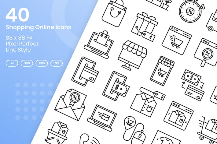 Thumbnail for 40 Shopping Online Icons Set - Line