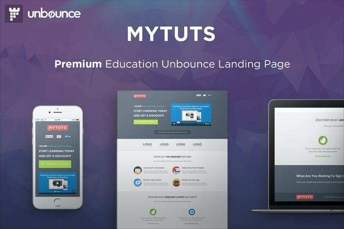 Thumbnail for MyTuts - Education Unbounce Template