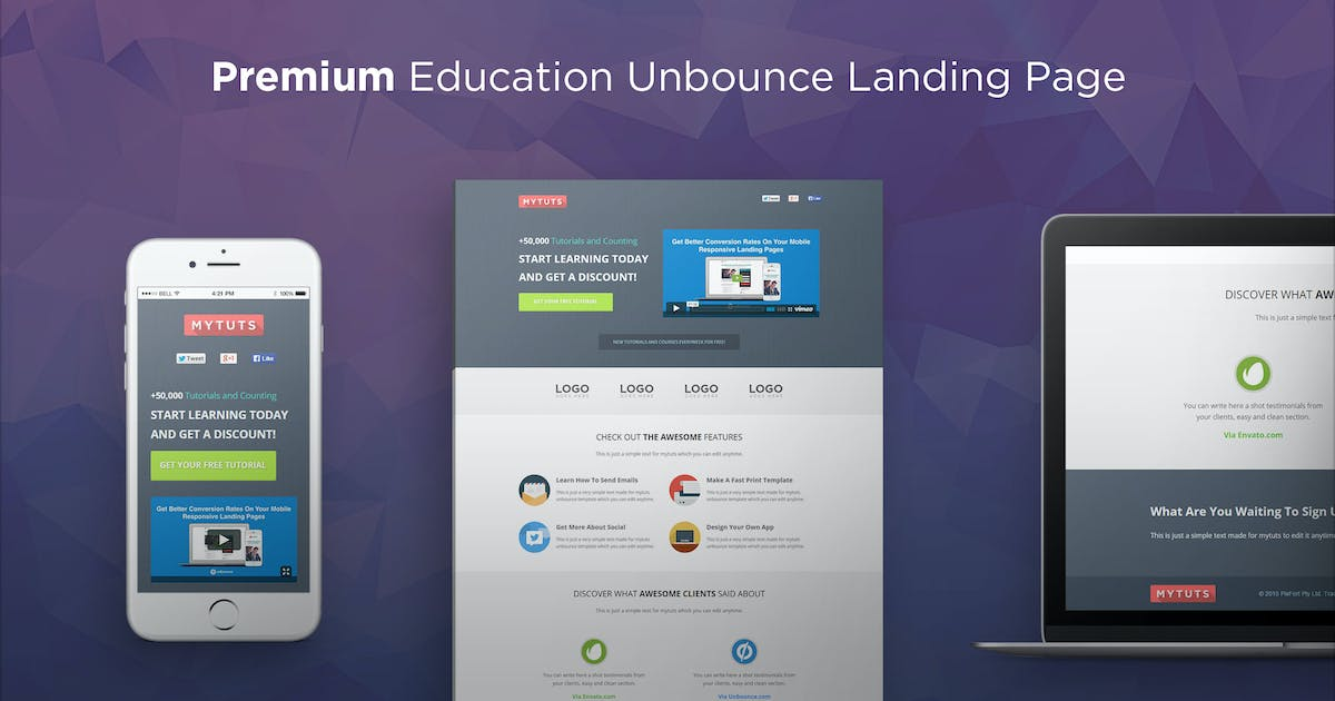 Download MyTuts - Education Unbounce Template by PixFort
