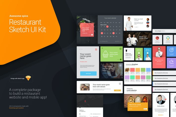 Thumbnail for Awesome spice - Restaurant Sketch UI kit