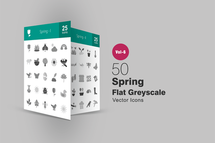 50 Spring Flat Greyscale Icons