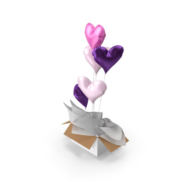 Pink and Purple Heart Balloons Surprise Box