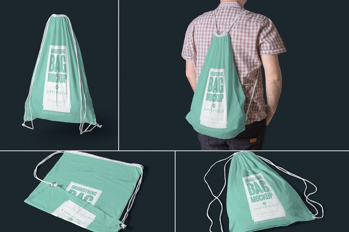 Thumbnail for 4 Drawstring Bag Mockups