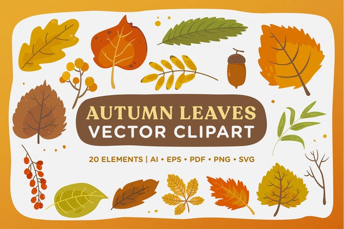 Thumbnail for Herbst Blätter Vektor Clipart Pack
