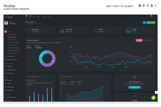 Oculux - Laravel Admin Template - product preview 0