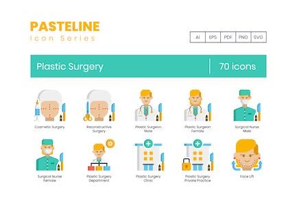 70 Icons für plastische Chirurgie - Pasteline Series