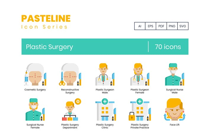 70 Plastic Surgery Icons - Pasteline Series