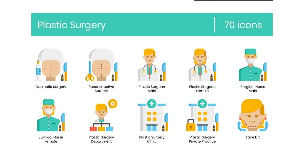 Download 70 Plastic Surgery Icons - Pasteline Series by Krafted