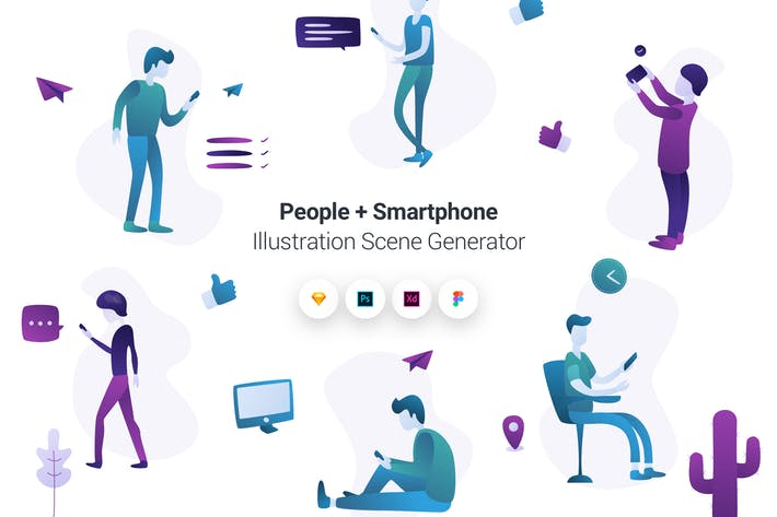 Thumbnail for People + Smartphone Illustration Scene Generator