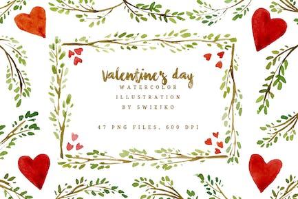 Watercolor Valentine Illustration