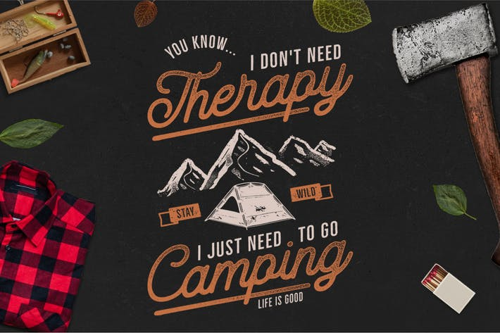 Thumbnail for Camping T-Shirt Design. Retro Adventure Badge SVG