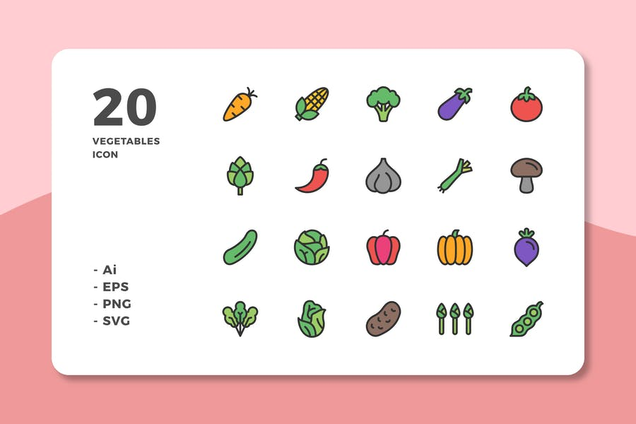 20 Vegetables Icons (Lineal Color)
