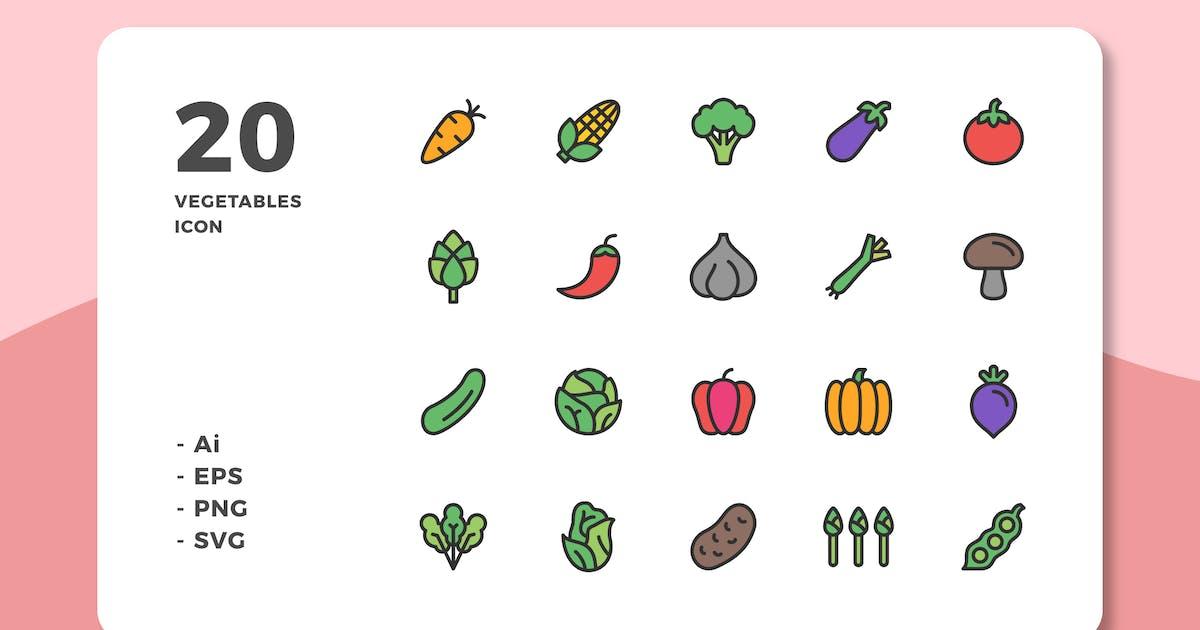 Download 20 Vegetables Icons (Lineal Color) by deemakdaksinas