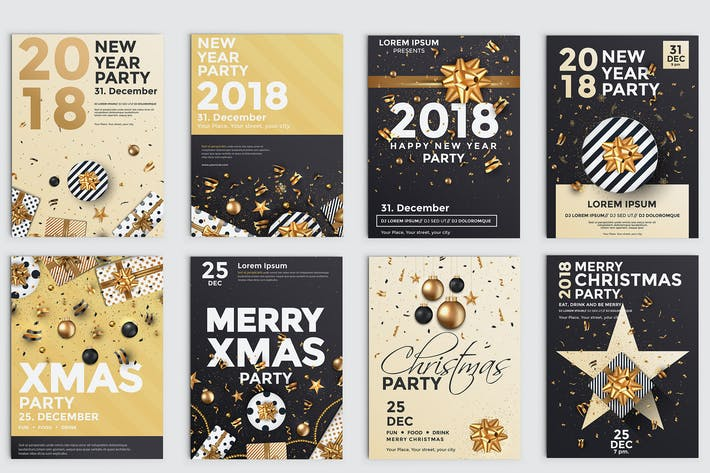Thumbnail for Set of 10 Christmas Party Flyer Templates