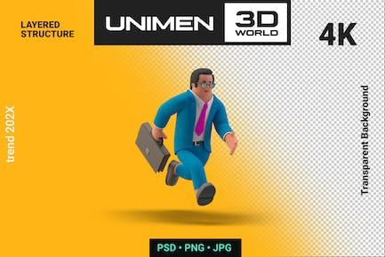 Businessman 3D Running with Briefcase illustration