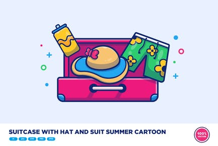 Suitcase With Hat And Suit Summer