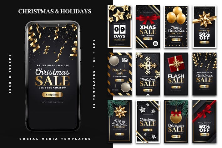 Thumbnail for Christmas & Holiday Instagram Story Templates