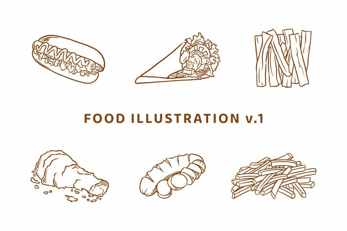 Thumbnail for Food Illustration V.1 (Outline Version)