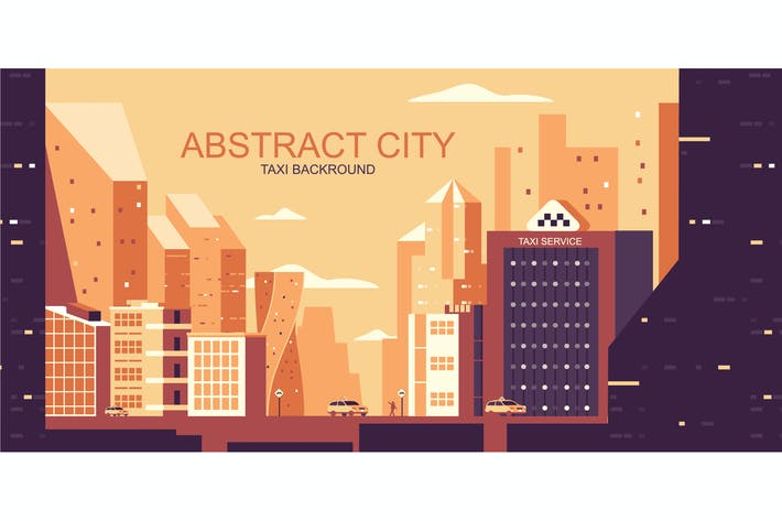 Thumbnail for Taxi City Vector Illustration Header Website