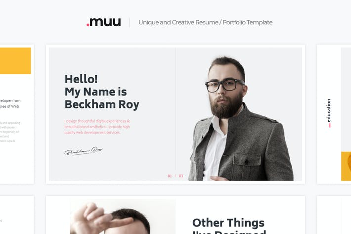 Thumbnail for MUU - Unique and Creative vCard & Resume Template