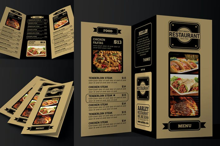 Cover Image For Trifold Restaurant Menu
