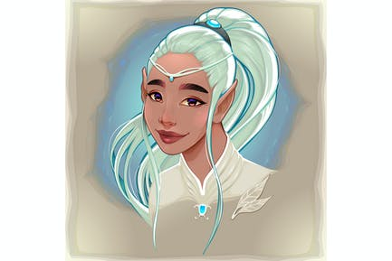 Porträt einer lächelnden Elfe