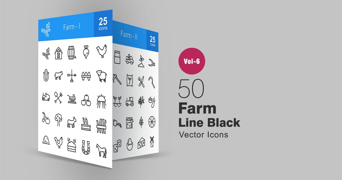 50 Farm Line Icons by IconBunny