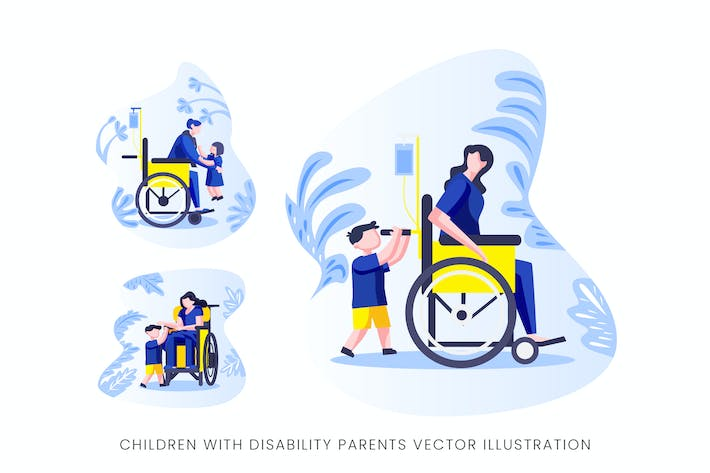 Thumbnail for Children With Disability Parents Vector Character