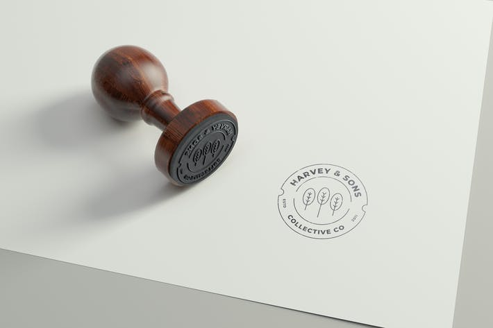 Thumbnail for Rubber Stamp Logo Mockup - Round Version