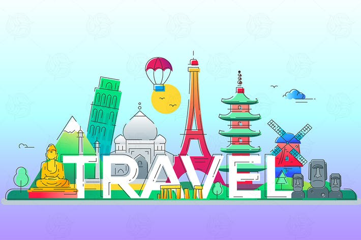 Thumbnail for Travel - vector line travel illustration