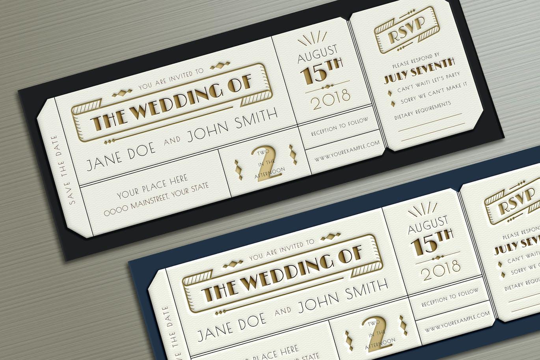 Art Deco Wedding Invitation Ticket By