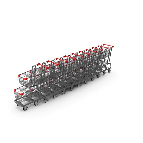 Metal Shopping Carts Row