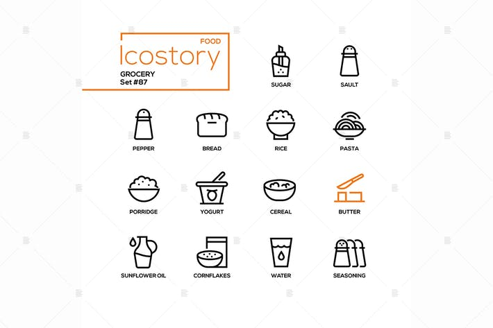 Thumbnail for Grocery - modern line design style icons set