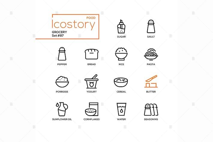 Lebensmittelgeschäft - moderne Linie Design Stil Icons Set