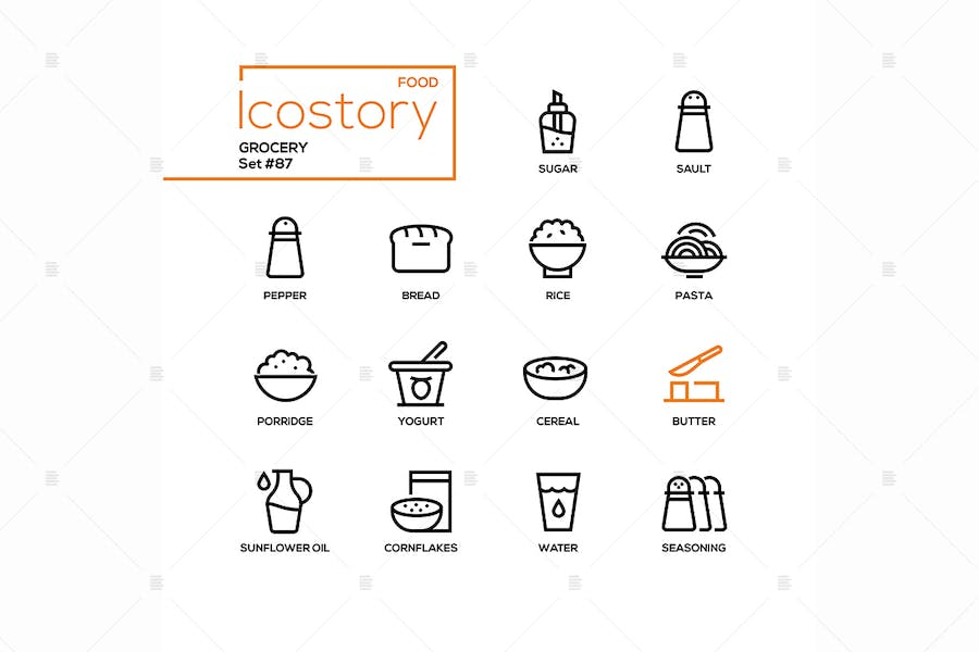 Grocery - modern line design style icons set