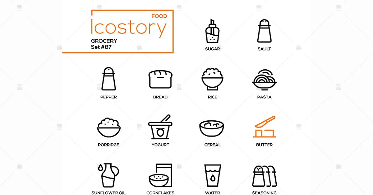 Download Grocery - modern line design style icons set by BoykoPictures