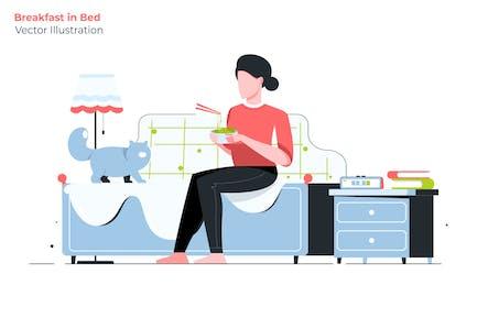 Frühstück im Bett - Vektor Illustration