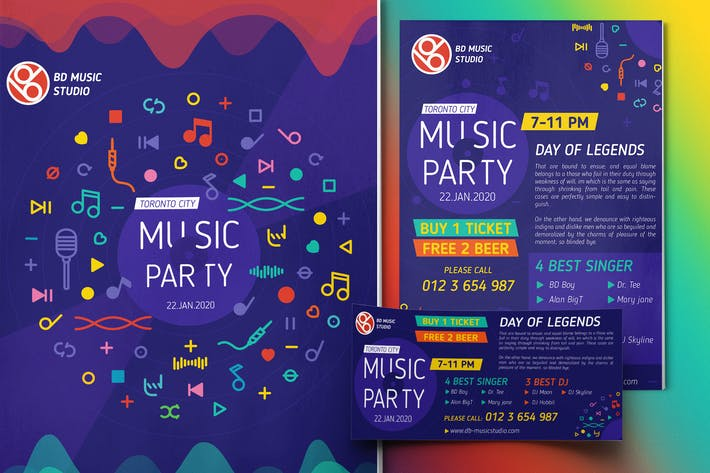 Thumbnail for Music Party-Set Template