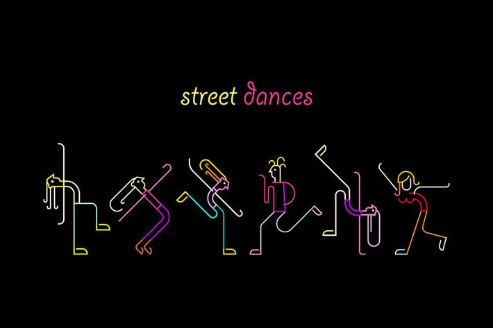Thumbnail for Street Dances Neon Colors Vector Illustration