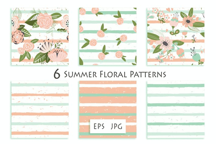 Thumbnail for Flowers on striped seamless pattern